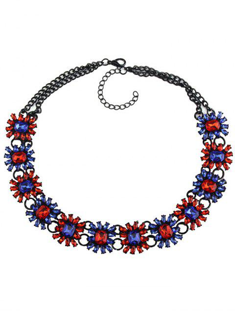 womens Geometric Faux Gem Choker Necklace - BLUE AND RED  Mobile
