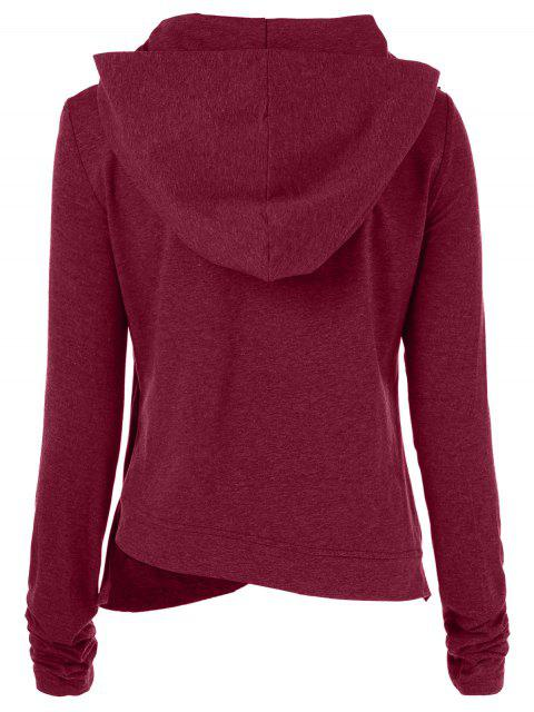 unique Draped Hoodie - WINE RED S Mobile