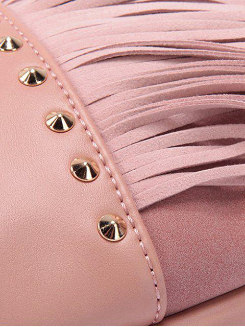 women PU Leather Rivet Fringe Crossbody Bag - BLUE  Mobile