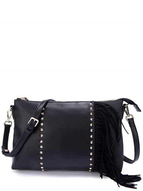 ladies PU Leather Rivet Fringe Crossbody Bag - BLACK  Mobile