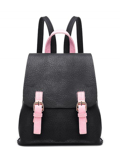 sale Buckle Strap Textured PU Leather Backpack - BLACK  Mobile