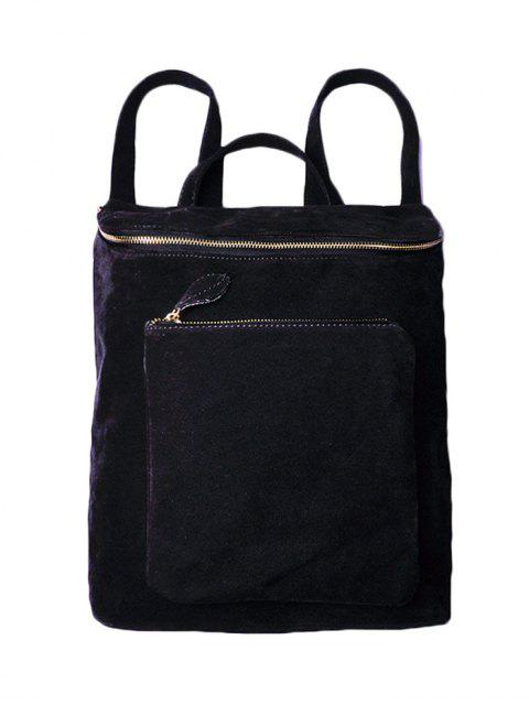 women Casual Zips Suede Backpack - BLACK  Mobile