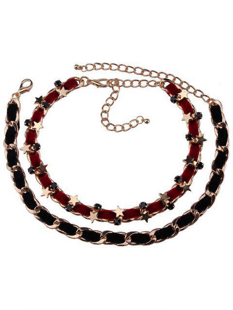 Alliage Faux cuir velours Pentagram Colliers - Rouge et Noir  Mobile