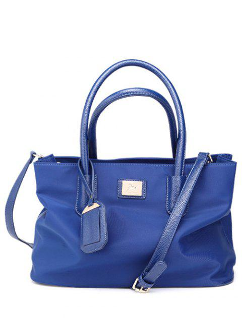 outfits Pendant PU Leather Spliced Nylon Tote Bag - BLUE  Mobile