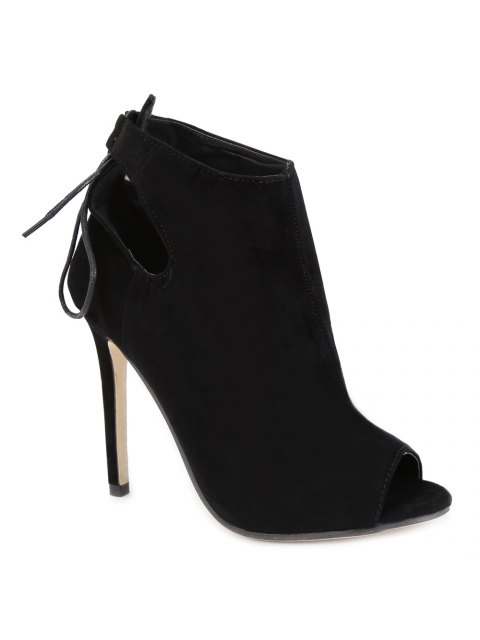 shop Hollow Out Tie Up Black Peep Toe Shoes - BLACK 38 Mobile