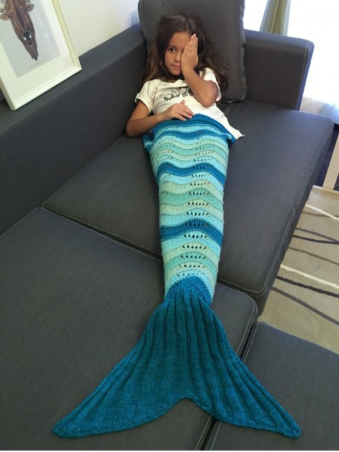 buy Knitted Openwork Mermaid Blanket - DEEP BLUE  Mobile