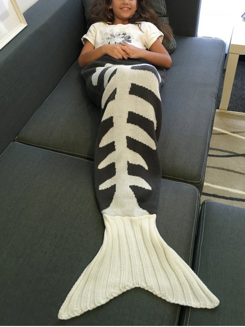 womens Fish Bone Knitted Mermaid Tail Blanket - GREY AND WHITE L Mobile