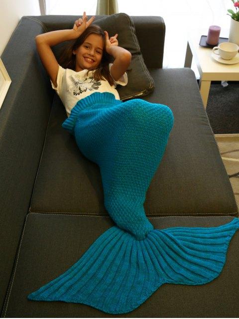 women Flounced Knitted Mermaid Tail Blanket - BLUE  Mobile