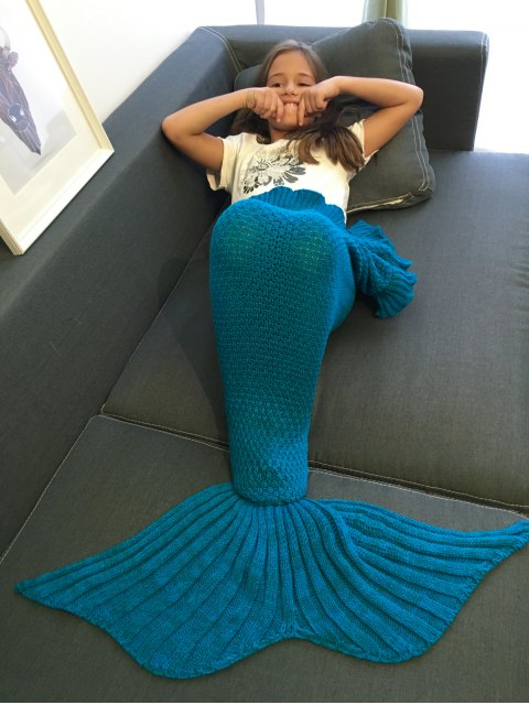 women Flounced Knitted Mermaid Tail Blanket - BLUE  Mobile