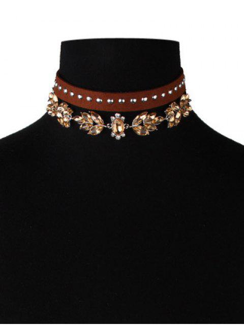 latest Faux Leather Velvet Rivets Crystal Chokers - BROWN  Mobile