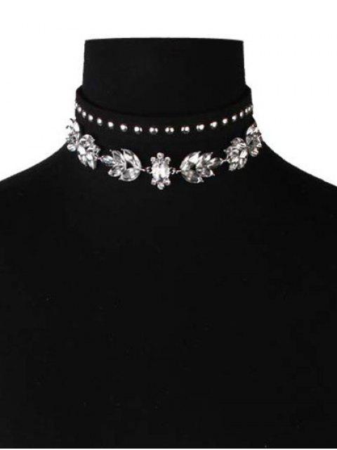 trendy Faux Leather Velvet Rivets Crystal Chokers - BLACK  Mobile