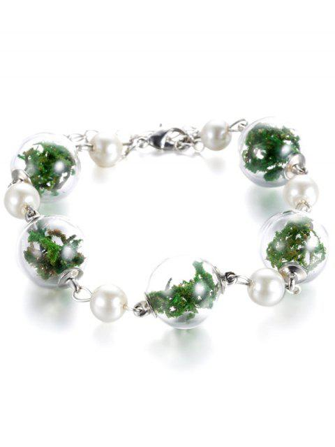 shops Glass Dry Plant Faux Pearl Bracelet - GREEN  Mobile