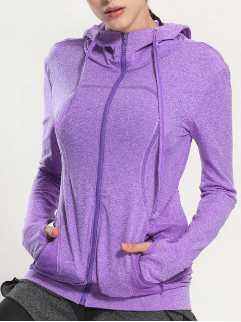 latest Zip Through Sports Hoodie - PURPLE M Mobile