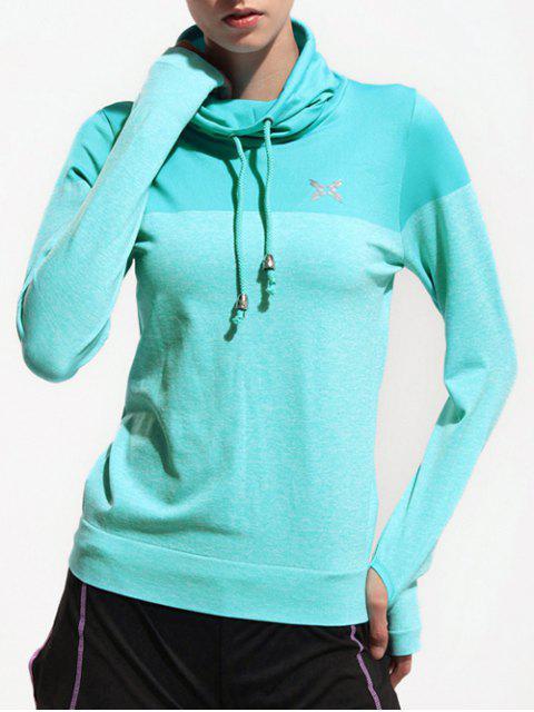 shop High Collar Sports T-Shirt - LAKE BLUE L Mobile