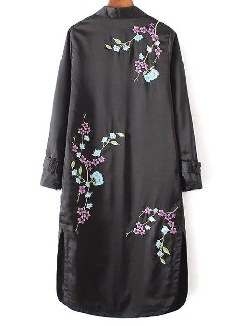 ladies Embroidered Back Trench Coat - BLACK M Mobile