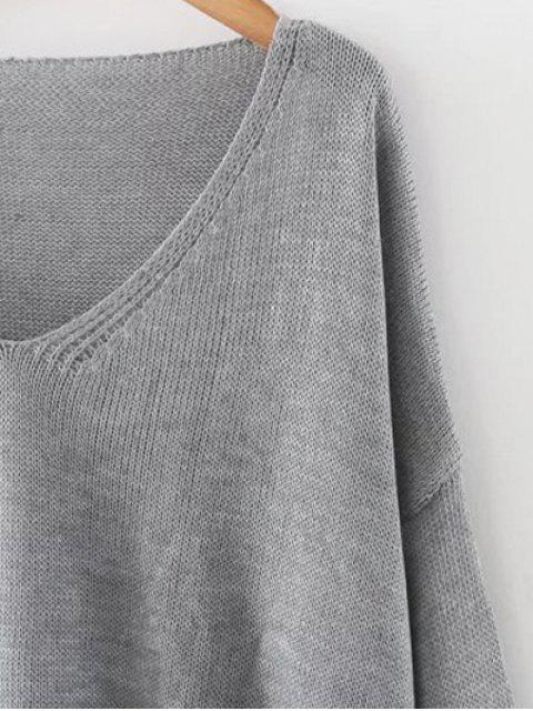 outfits Side Slit Oversized Sweater - GRAY ONE SIZE Mobile