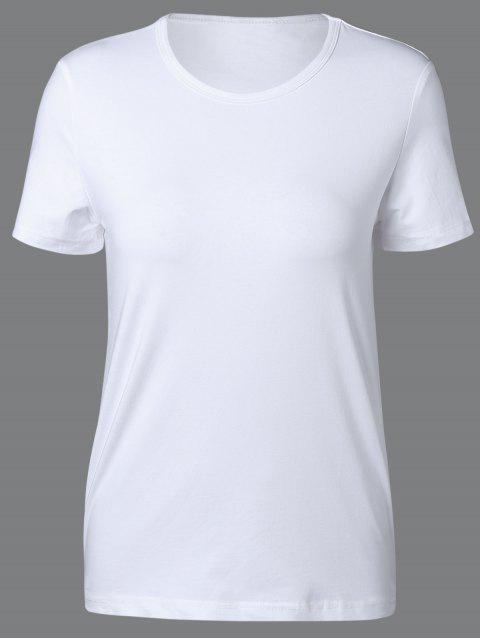 chic Round Neck Short Sleeve T Shirt - WHITE XL Mobile