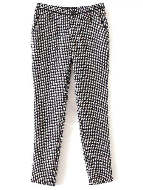 buy Houndstooth Tapered Trousers - WHITE AND BLACK S Mobile