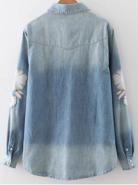 chic Embroidered Denim Overshirt - BLUE M Mobile