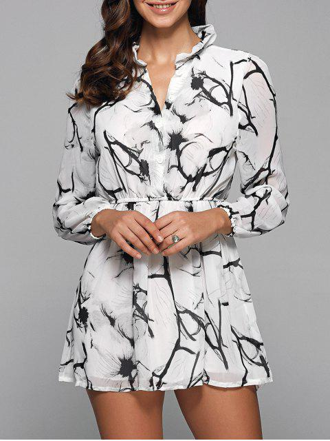 best Ruff Collar Long Sleeve Chinese Painting Print Shirt Dress - WHITE 2XL Mobile