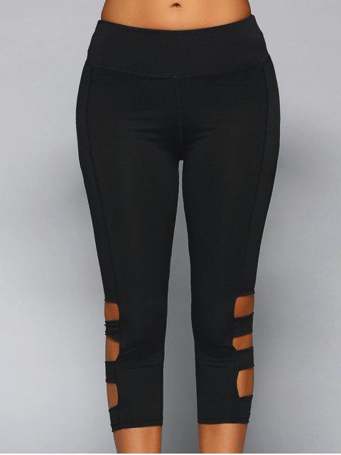 fancy Cut Out Capri Leggings - BLACK S Mobile