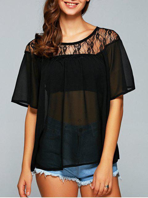 online Round Neck See-Through Lace Spliced Blouse - BLACK M Mobile