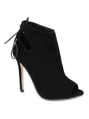 Hollow Out Tie Up Black Peep Toe Shoes