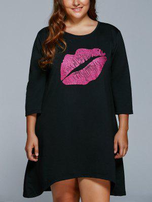 Mini-robe  Grande Taille Imprimé D'une Lèvre - Noir 4xl