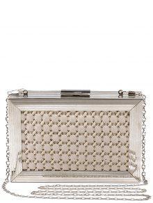 Buy Weaving Metal Trimmed Evening Bag - OFF-WHITE