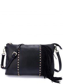 PU Leather Rivet Fringe Crossbody Bag - Black