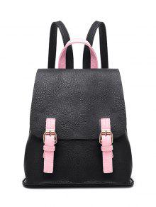 Buckle Strap Textured PU Leather Backpack - Black