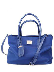 Pendant PU Leather Spliced Nylon Tote Bag - Blue