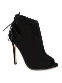 أجوف خارج التعادل حتى الأسود اللمحة أحذية تو - أسود 37