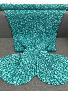Acrylic knitted sofa mermaid tail style blanket lake green for Cobertor para sofa