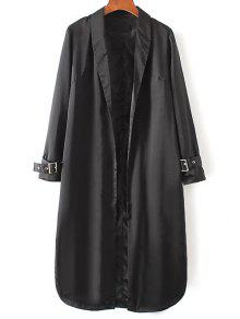 Embroidered Back Trench Coat - Black M
