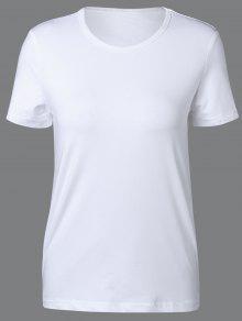 Col Rond Manches Courtes T-shirt - Blanc Xl