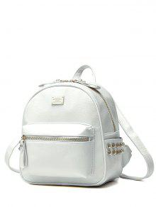 Buy Metal Rivets Zippers PU Leather Backpack - WHITE