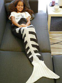 Fish Bone Tricotée Mermaid Tail Blanket - Gris Et Blanc L