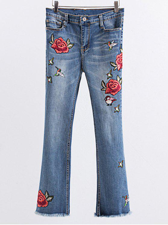 ladies Rose Embroidered Frayed Boot Cut Jean - LIGHT BLUE L