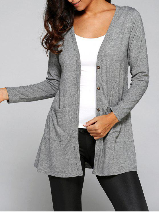 fancy Buttoned Loose Collarless Long Sleeve Cardigan - GRAY M