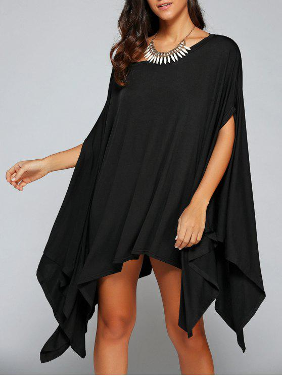 women Loose Asymmetric One-Shoulder Bat-Wing Sleeve Dress - BLACK S