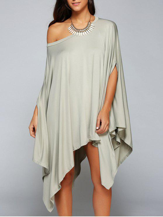 chic Loose Asymmetric One-Shoulder Bat-Wing Sleeve Dress - GRAY XL