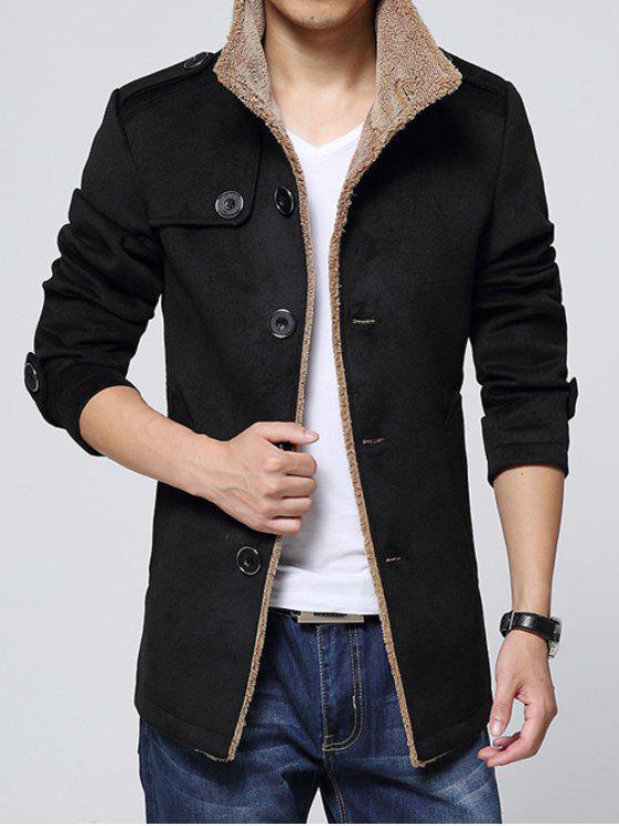 Spallina Impreziosito monopetto Girare-Down Coat Collare in pile - Nero 3XL