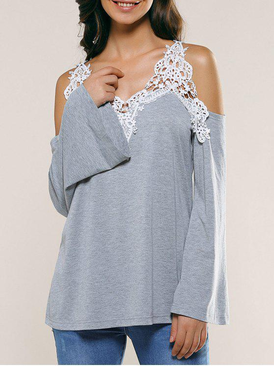 new Cold Shoulder Lace Panel Color Block T-Shirt with Long Sleeve - LIGHT GRAY S