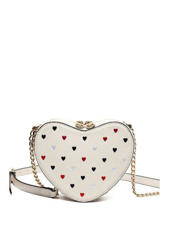 A forma di cuore Crossbody Bag - Bianco Sporco