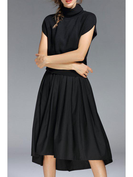 1e128149f46 2018 High Neck A Line Midi Dress In BLACK XL