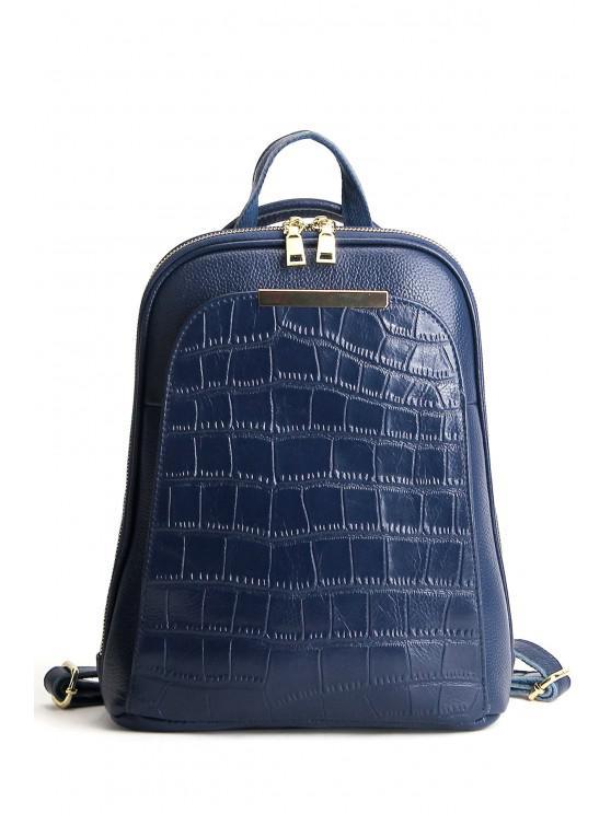 womens Embossed Metal Leather Backpack - BLUE