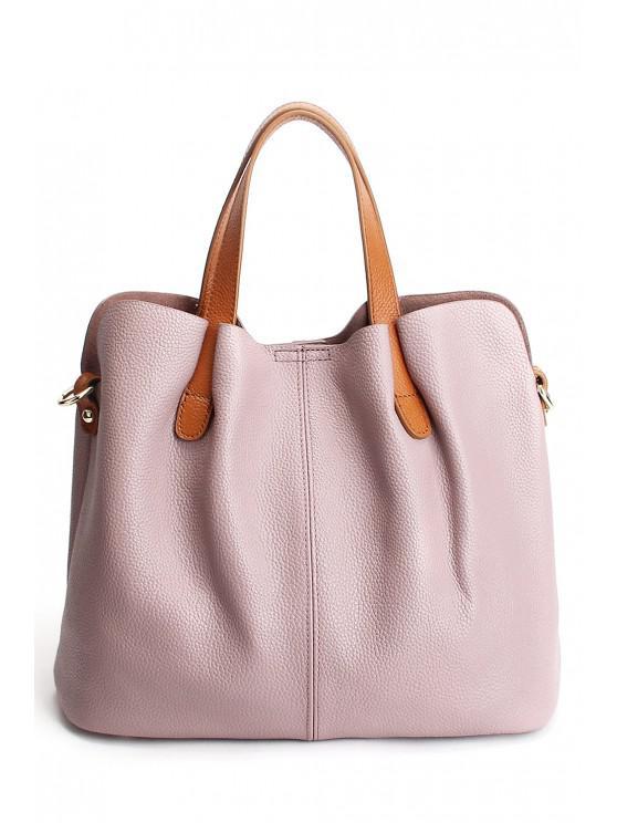 Strukturiertem Leder Stitching-Taschen-Tasche - Rosa