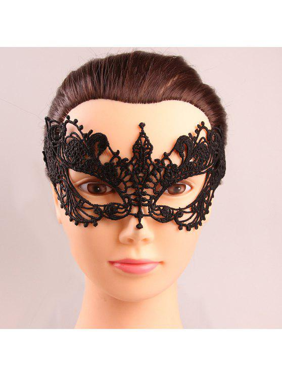 chic Mystical Upper Half Face Black Lace Hollow Out Carnival Masquerade Masks - BLACK