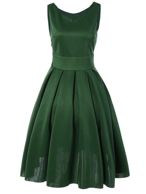 best Sweetheart Neck Vintage Dresses - GREEN M